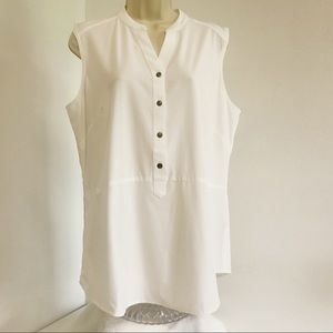 Orvis Tunic Top M Sheer Button Front Sleeveless